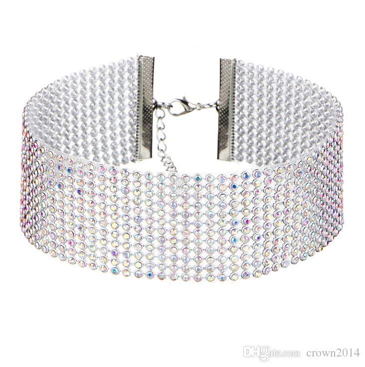 Barato Moda Feminina Cheio de Cristal Rhinestone Gargantilhas Colar Para As Mulheres de Jóias de Prata Colorido Declaração de Diamante Colar