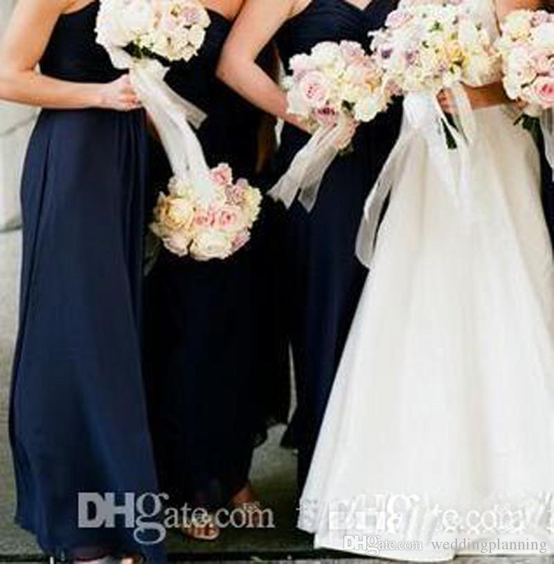 Cheap Navy Blue Bridesmaid Dresses 2018 Floor Length Sweetheart Wedding Guest Dress Formal Maid Of Honor Gowns