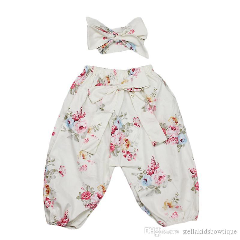 Legging Mode Printemps Automne Bébé Filles Harem Pantalon Coton Doux Longueur Pantalon Filles Avec Bow Top Noeud Bandeau Ensemble