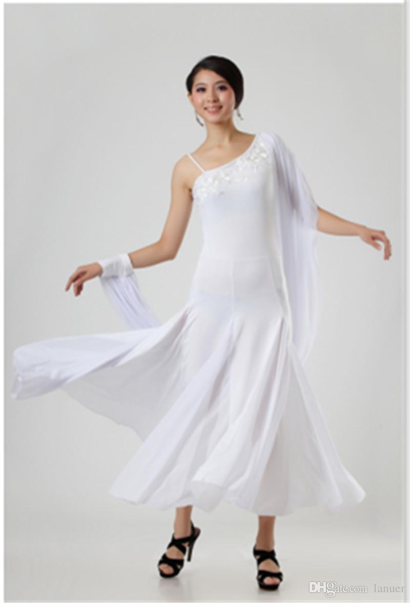 Vestido de hombro sexy de alto grado de baile de diamante salón de baile Waltz Tango Foxtrot traje de competencia de competencia falda de baile de salón estándar