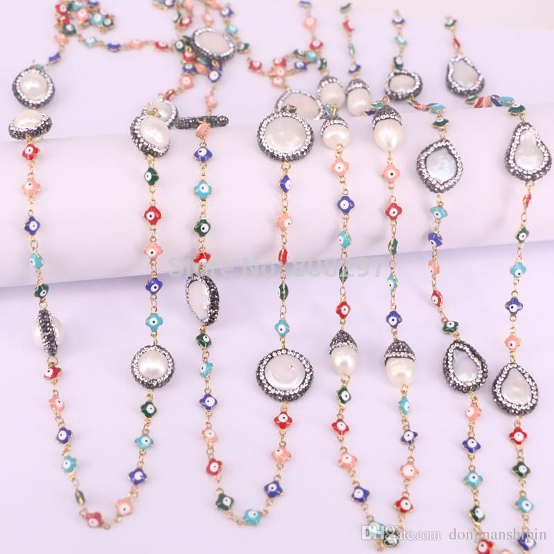 Fashion Pave CZ Nature Pearl Rosary Chain Necklace Multicolor Eye Charms Wire Wrapped Beaded Chains Necklaces