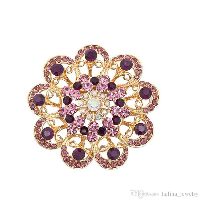Vintage Fancy Gold Plated Cute Sun Flower Crystal Rhinestone Brooches and Pins
