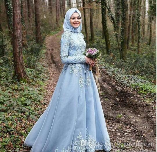 2017 robe bleu ciel manches longues robes de soirée musulmanes robe de soirée courte Hijab robes de soirée turques avec dentelle sur mesure