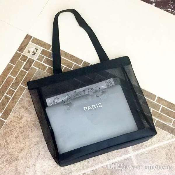 HOT!Classic white logo shopping mesh Bag luxury pattern Travel Bag Women Wash Bag Cosmetic Makeup Storage mesh Case