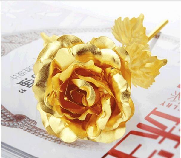 Gif creativo de la boda del cumpleaños, 24k Flor oro manual del amante de Rose de Rose sumergida, flor pintada oro artificial de la decoración