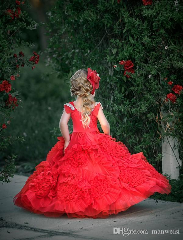 Dollcake Red Ruffles Flower Girl Dresses With Sashes Lace Ball Gown Tutu 2019 Boho Wedding Vintage Beach Little Baby Gowns for Communion