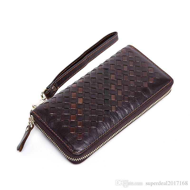 Marca de venta directa de fábrica de hombres Bolso billetera de cuero con estampado clásico tejido tejido patrón de negocio para hombre cartera bolso de embrague