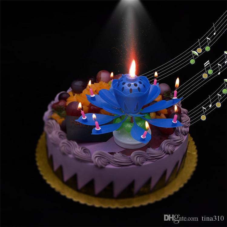 Hot sale Double-deck rotation petal birthday candle cake Flower candle musical candle Cake Accessory Gift T3I0078