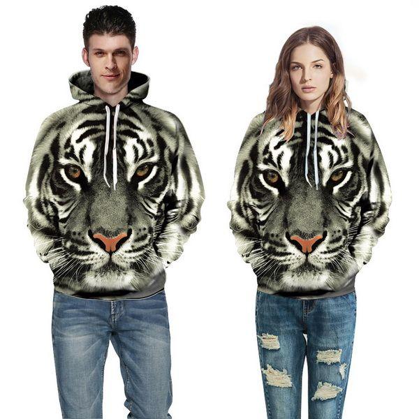 Hommes Femmes Hoodies Hip Hop Sweat Drôle 3D Tiger Lion Cat Leopard Marque De Mode Plus La Taille 3XL À Capuche Hommes Survêtement Unisexe Pulls