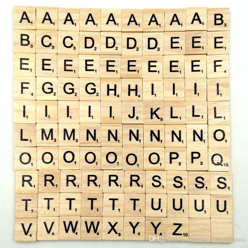 Großhandel 100 Teile Satz Holz Alphabet Buchstaben Fliesen Schwarz