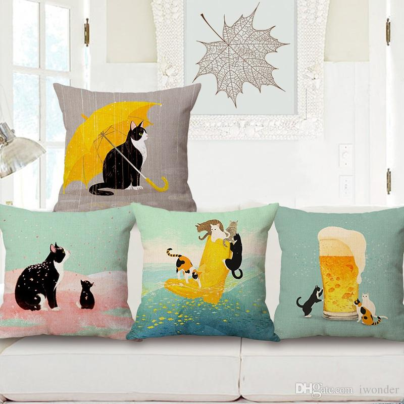 Beer Cat Cushion Cover Pink Flower Pillow Cover Cat With Yellow