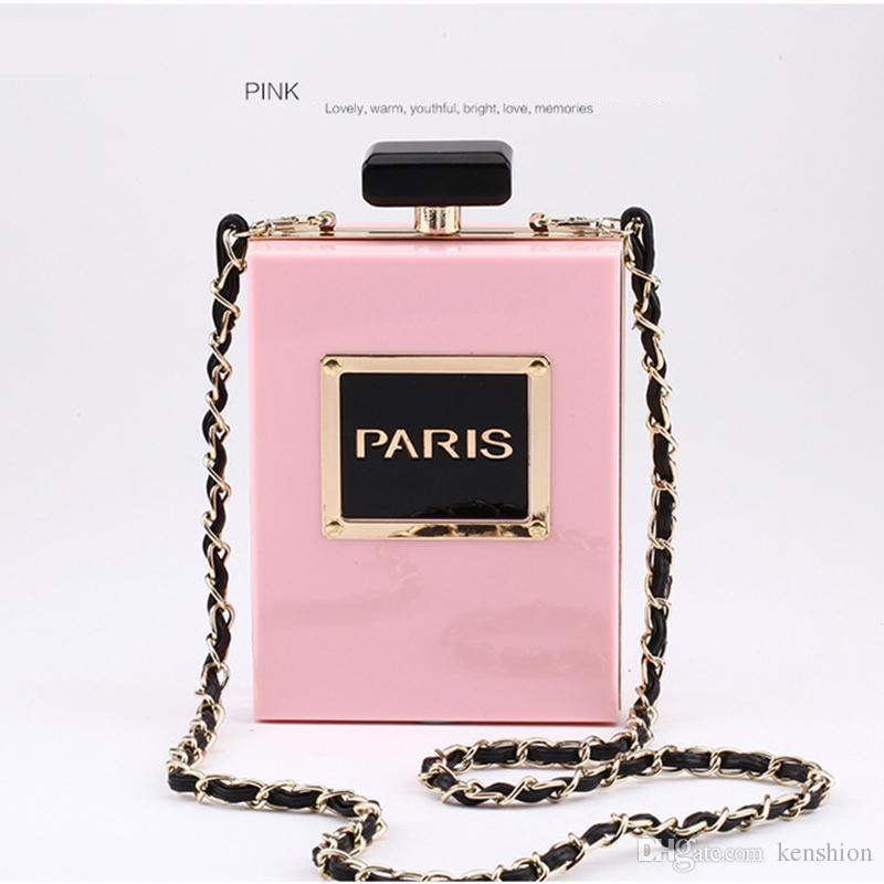 Hot Fashion i Marca PARIS Profumo Bag Bottle Shape Frizione Borsa Clutch Borse da sera in acrilico catena Messenger con tracolla - PZ01
