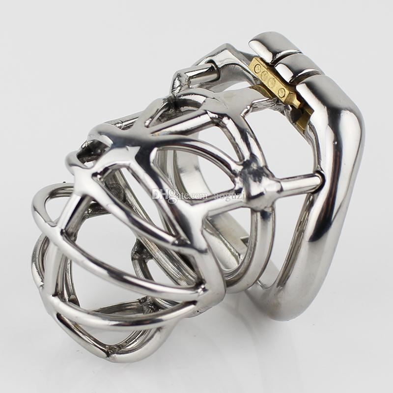 Latest Design Male Chastity Device Stainless Steel Adult Cock Cage With Curve Cock Ring Sex Toys Bondage Chastity Belt