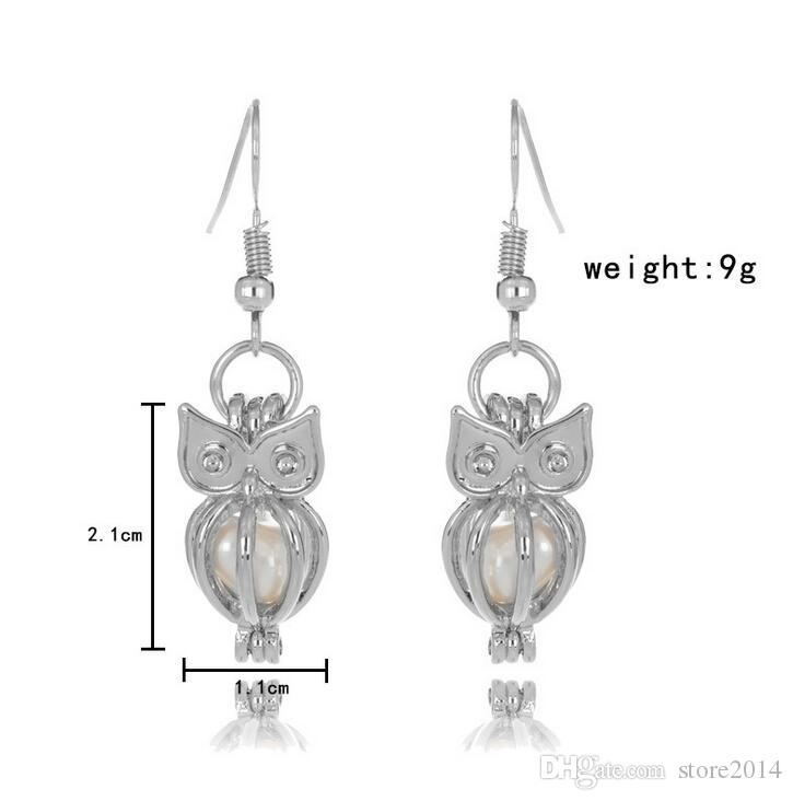 Fashion Love Wish Perles Cages Boucles d'oreilles en perles d'eau douce Oyster Pendentif Boucles d'oreilles Excluant Perle en conserve Boucles d'oreilles évidées