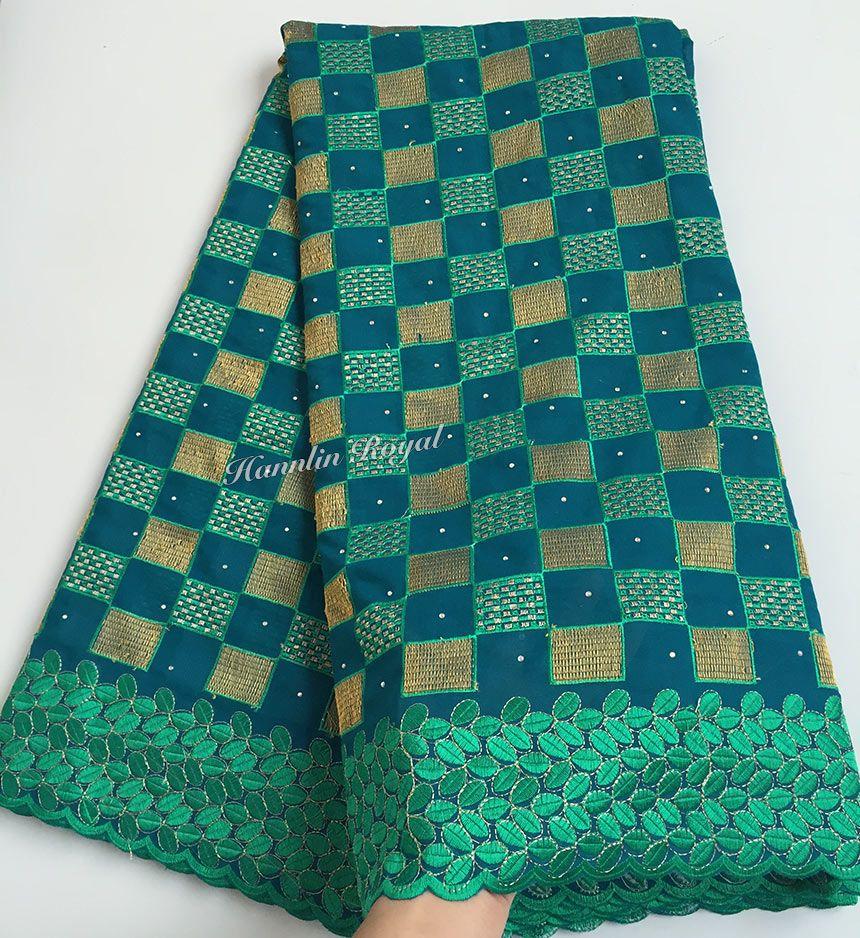 Tela de encaje 100% algodón verde azulado verde suizo africano encaje voile de alta calidad para hombres y mujeres