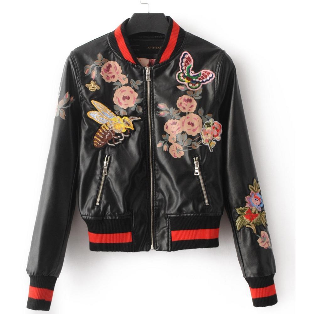 2019 2017 Lady Autumn Bomber Jacket Back Flowers Embroidery Leather