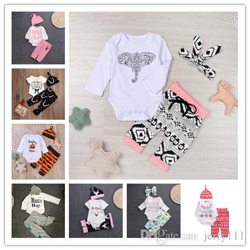 6bb42324c37b Baby Xmas Halloween pumpkin outfits kids Letter Christmas print  hat+romper+pants 3pcs set children cotton suits 12 Styles LC634