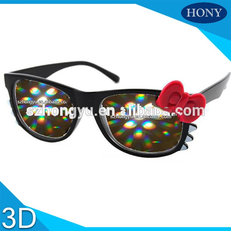 c02ae0b30 Wholesale Hello Kitty Glasses Christmas Firework Diffraction Glasses Black  Frame With Pink PH0057 Plastic Diffraction Glasses Clear Lens Polarized 3d  ...