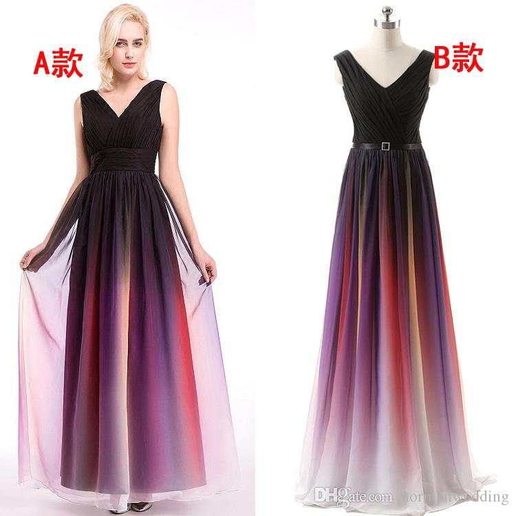 Discount V Neck Multi Color Chiffon Prom Dresses Corset Bandage Long ...