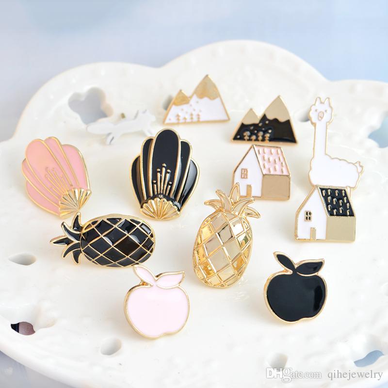 핀 브로치 파인애플 알파카 폭스 꽃 주택 모양의 패션 쥬얼리 액세서리 여성 선물