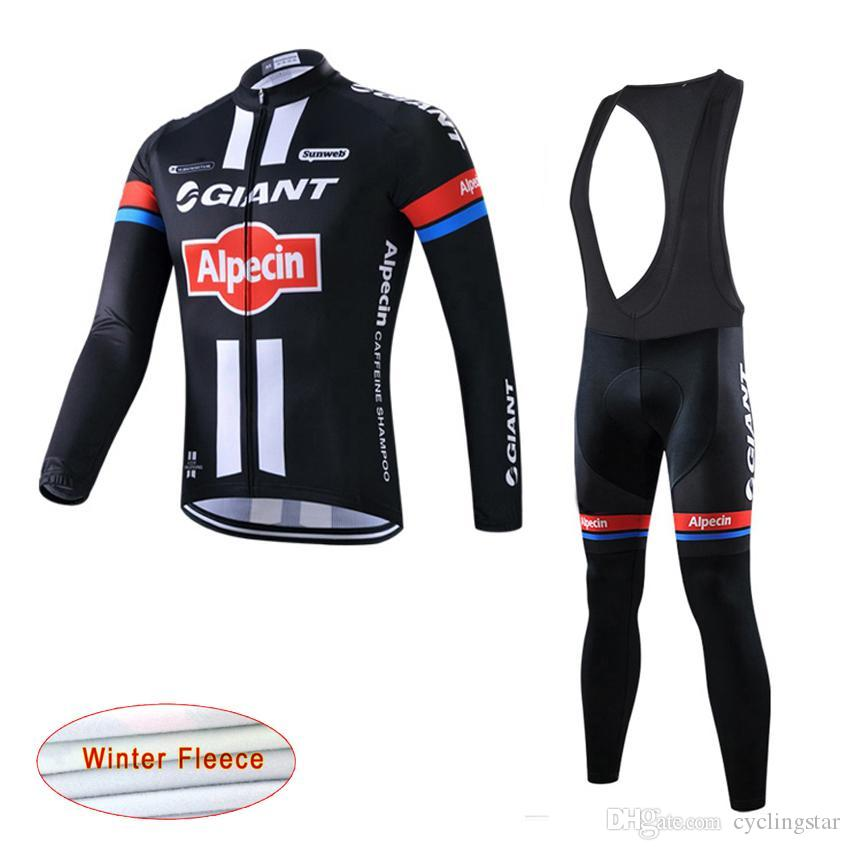 2017 Racing Team GIANT Cycling Jersey Bike Pants Set Ropa Ciclismo Mens Thermal  Fleece Winter Pro Cycling Wear Bicycle Maillot Pant C2205 Mountain Bike ... 43d0292d5
