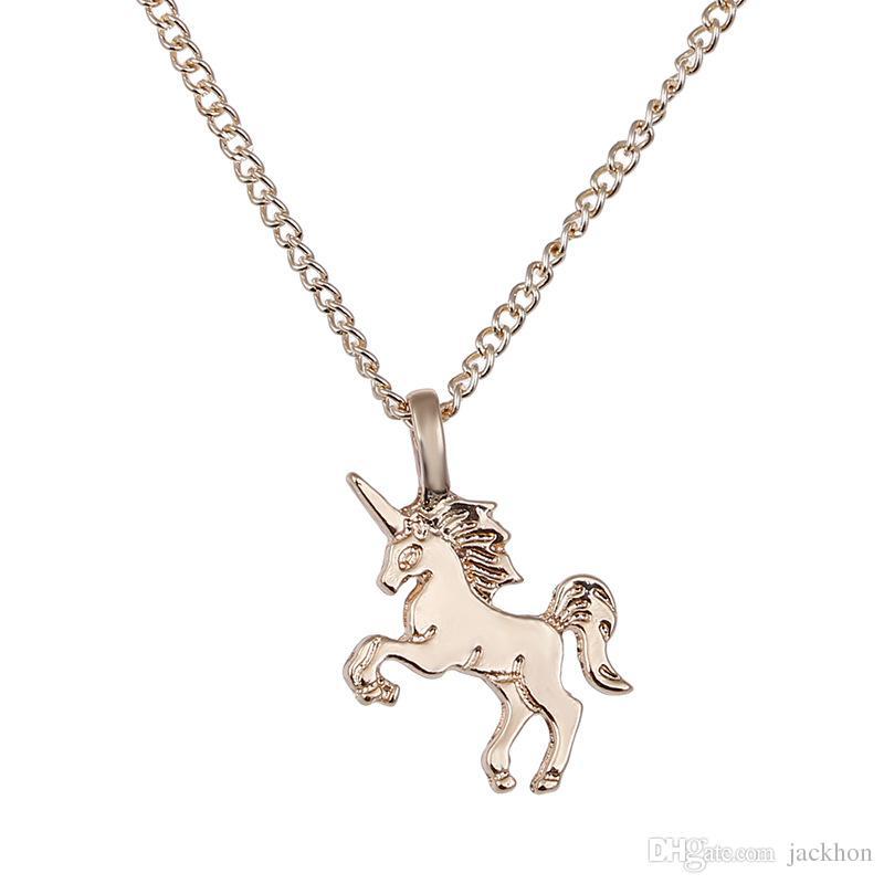 Fée Conte Licorne Collier Animal Or / Argent Licorne Pendentif Chaîne Collier Bijoux Souhaite Carte Cadeau pour femmes