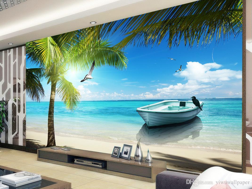 Maldivas Mar Praia Coqueiro Ver mural 3d papel de parede 3d papéis de parede para tv pano de fundo