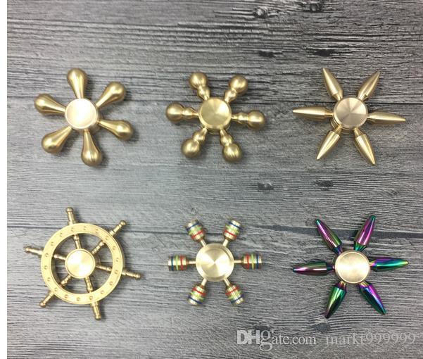 Moda hot 8 estilos hexagonal fidget spinner mão gyro edc fiação top descompressão brinquedo com caixa DHL metall liga fidget cubo brinquedo Da Novidade