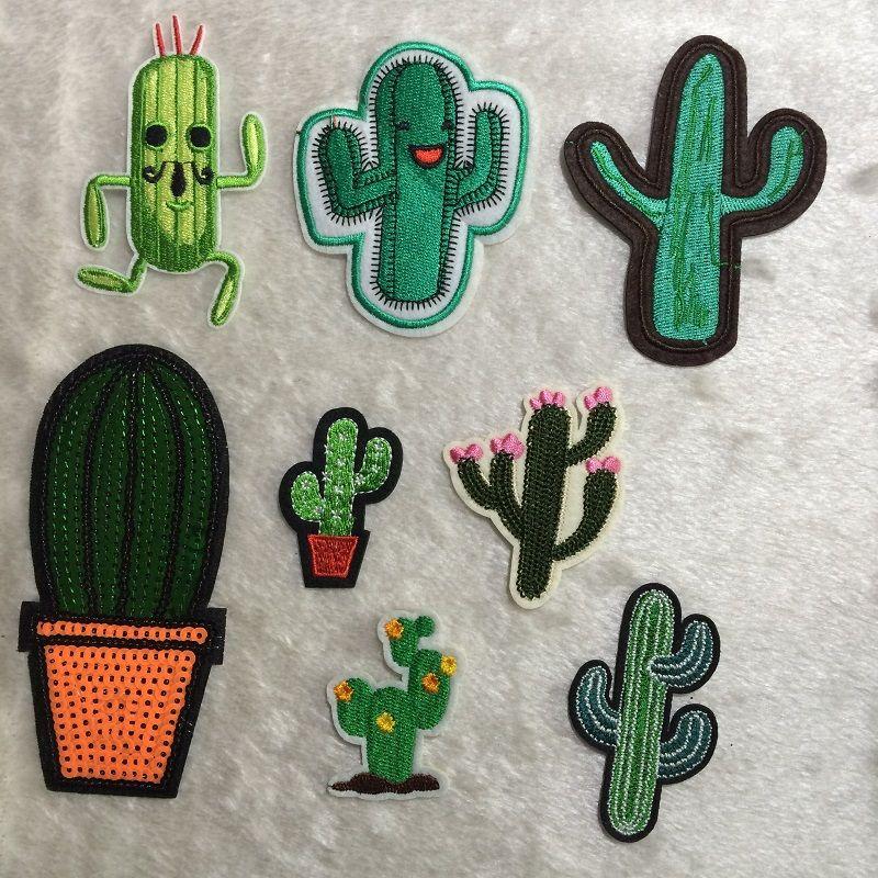 Artificiale Mini Cactus Piante Patch, Ricamo Vestiti Patch di Cactus, Cucire, Patch di ferro, Appliques biker, Giacca