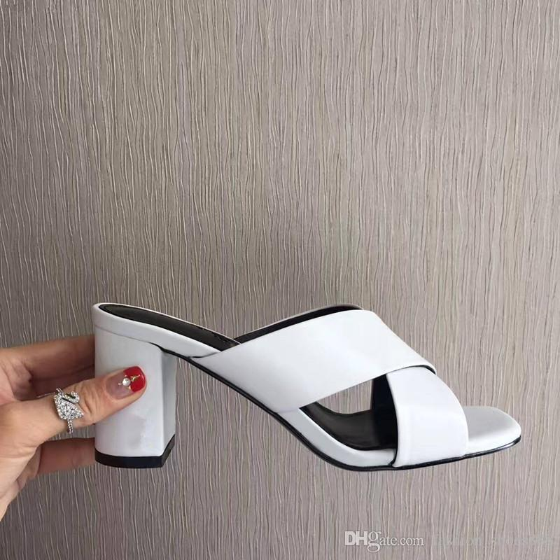 Os Mules salto alto 9 cm7 cm, a tendência da moda, confortável e fácil de combinar o seu olhar diário
