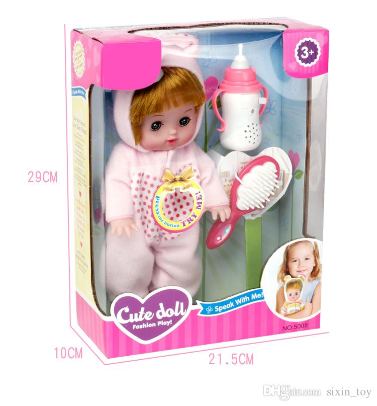 Adorable cute doll Pacifiers talking baby doll will cry and blink sing snore sisters doll