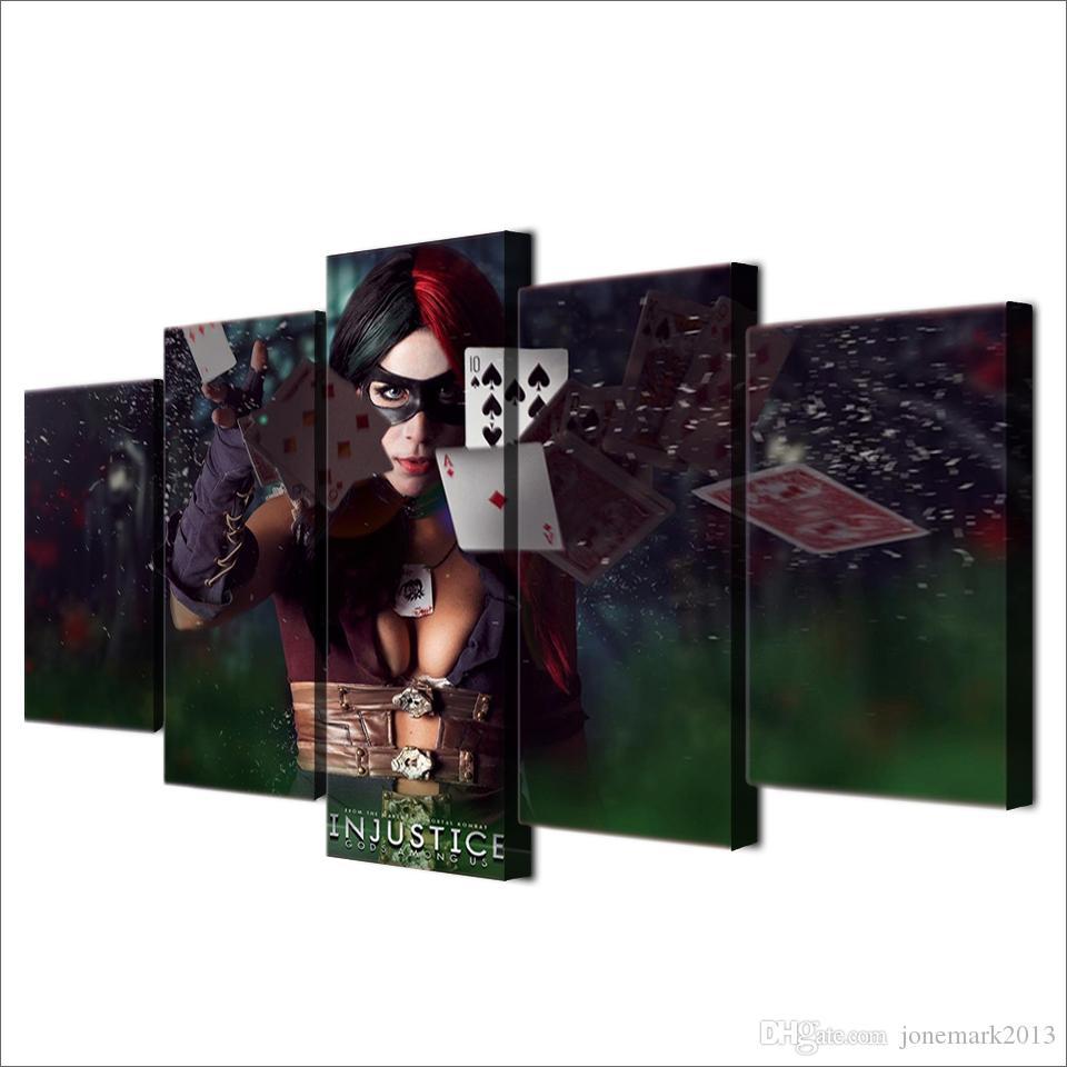 5 Unids / set Enmarcado HD injusticia dioses Pintura en la decoración de la sala de lona impresión de la lona de la imagen del cartel Envío libre / ny-2230