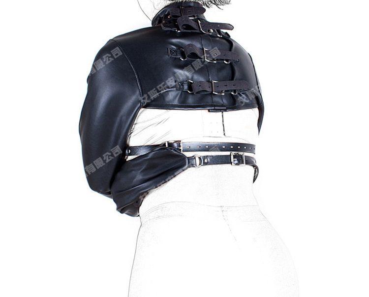 بدسم جديد منتجات جنسية ألعاب مثيرة عبودية أسود سوفي الجلود تعديل بوليرو straitjacket تكبل اللباس