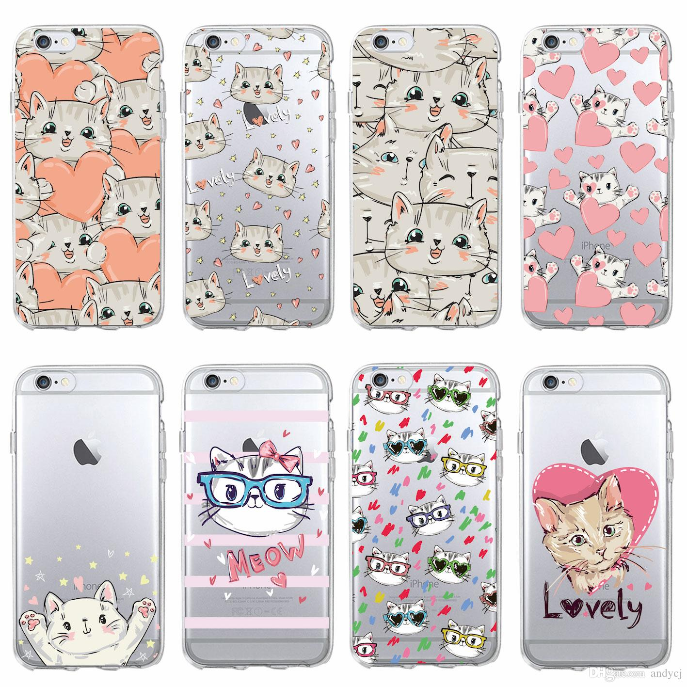 size 40 8514e 27a07 Cute Cartoon Kitty Cat Heart Stripe Lover Meow Phone Case for iPhone 7 7  Plus 6S 6Plus 5 5S 8 8Plus X SAMSUNG