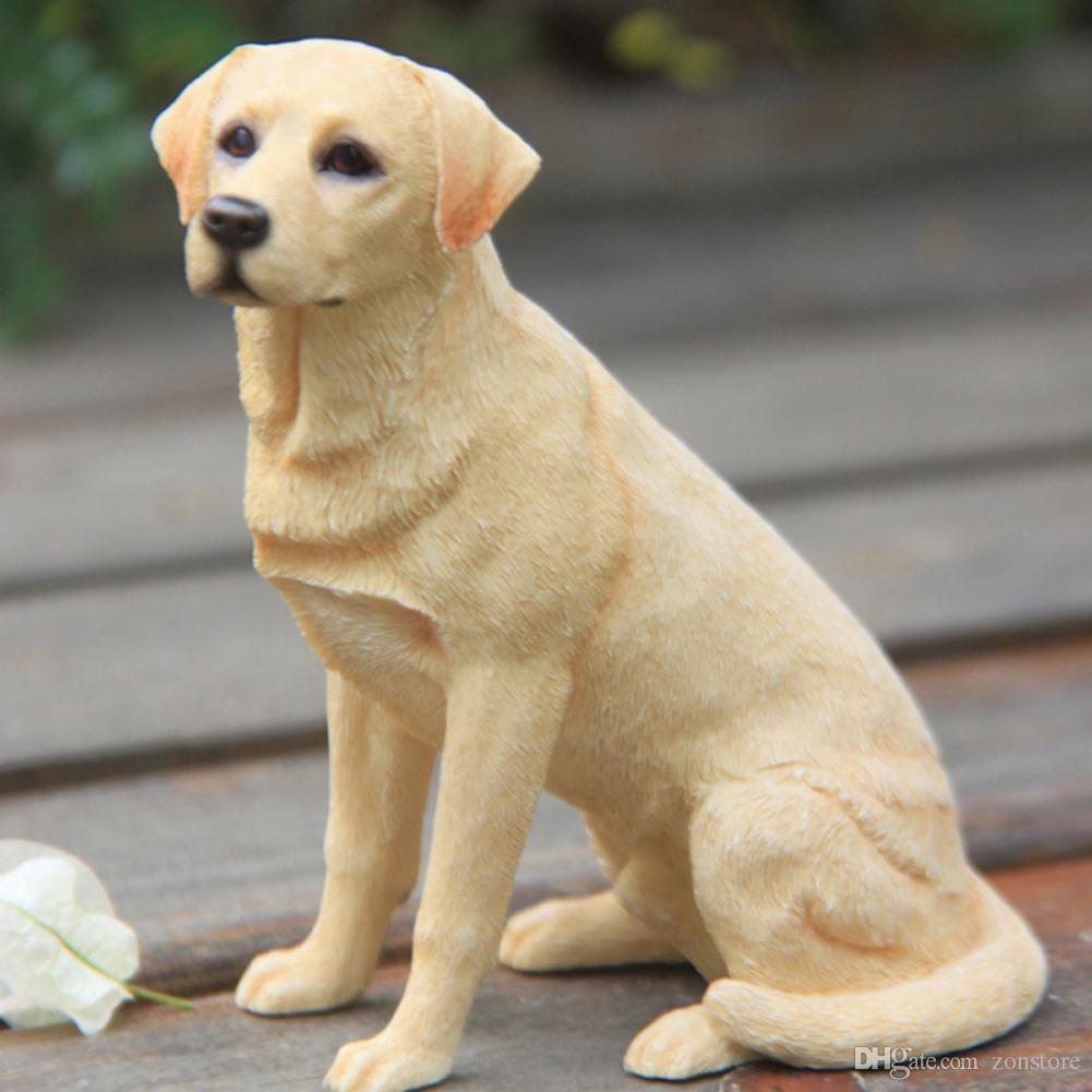 منحوت ابرادور المسترد الكلب تمثال اليد الحرف الراتنج الكلب الحلي الديكور تمثال الحيوان الحرف المنزل الفن للأطفال الهدايا