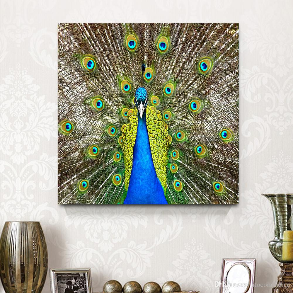2017 green peacock elegant animal canvas painting mural art home