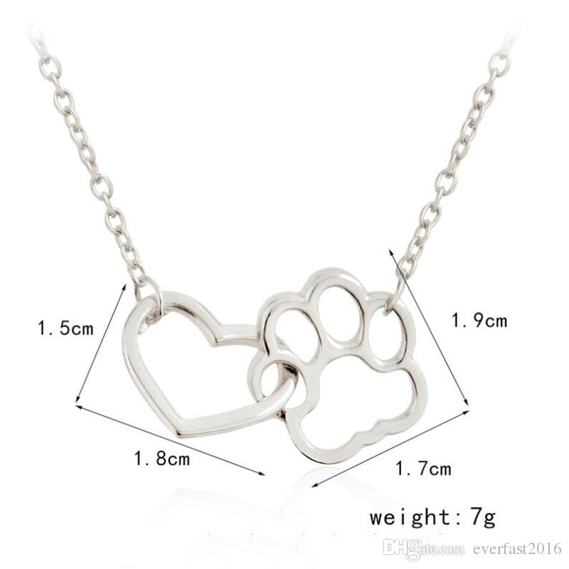 Hot Selling Fashion Love Heart With Cat Pawprint Pendant Necklace Simple Chain Necklaces For Charm Women Girls Gift EFN018-A