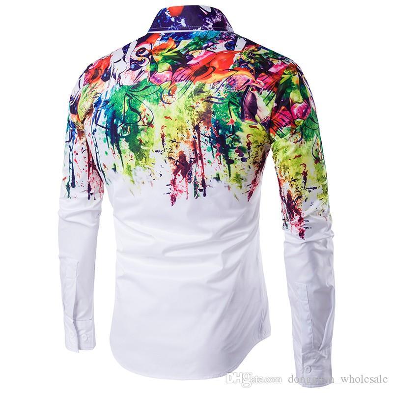 2017 neue Ankunft Mann Mode Shirt Muster Design Langarm Farbe Farbe Drucken Slim Fit mann Freizeithemd Männer Kleid Shirts