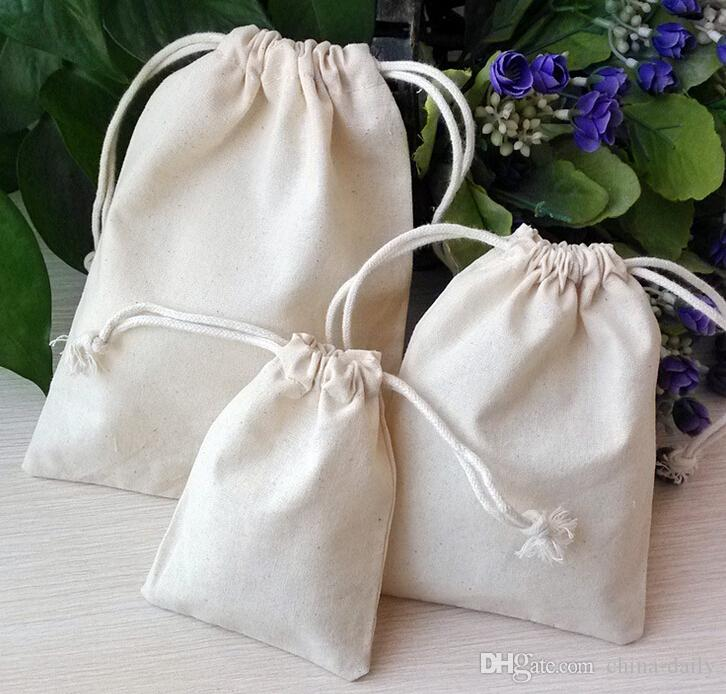 Navire gratuit Haute Qualité 9 * 12cm Mousseline Sac de coton Sacs Bijoux Sacs De Mariage Perles de Bonbons Perles de Noël Sac-cadeau de Noël