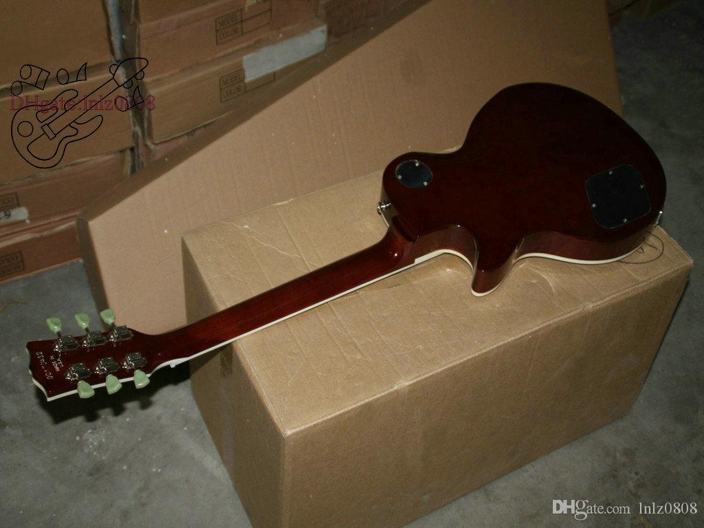 La migliore foto reale di scoppio marrone della chitarra elettrica della chitarra elettrica della Cina mostra la spedizione libera