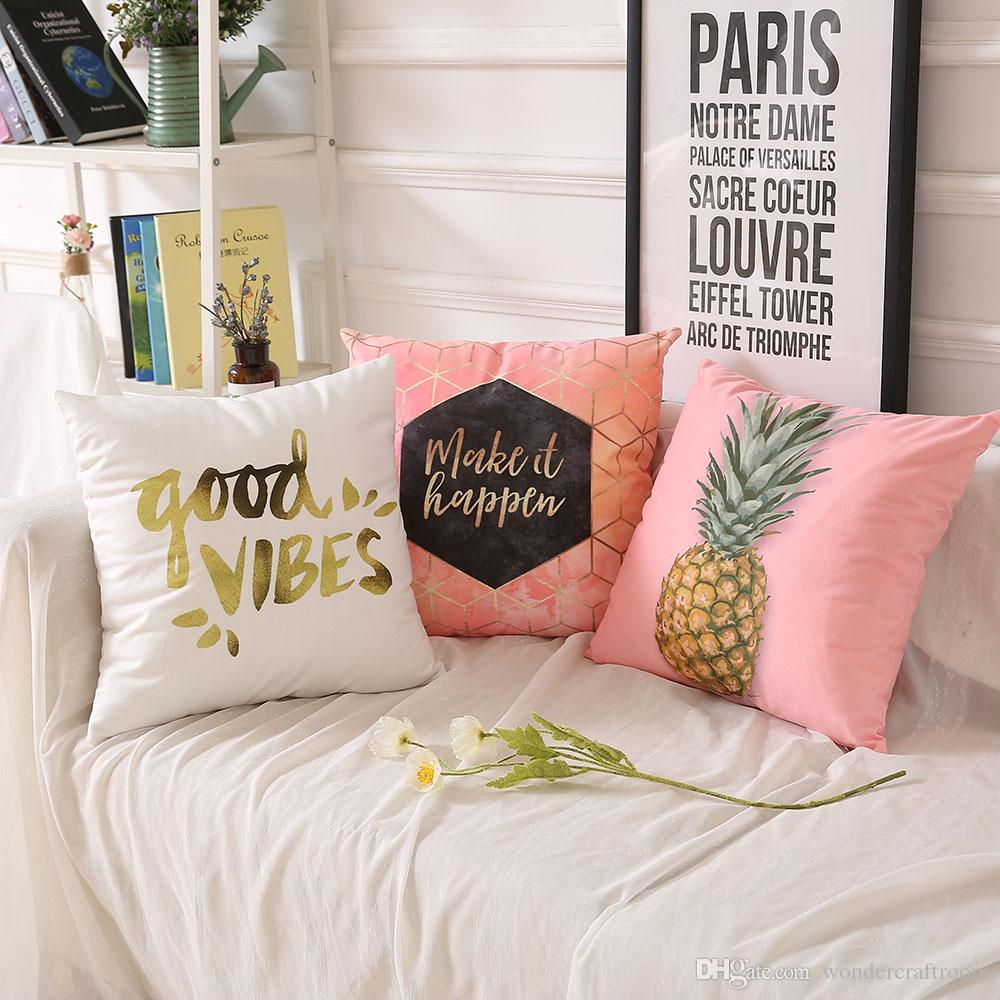 Modern Romance Pink Gold Yellow Heart Cushion Cover Pineapple Elephant Animal Cushion Covers Two Sided Print Pillow Case Gift