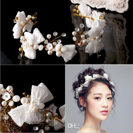 New Arrival 2018 bride wedding headbands lace bows bridal headpieces handmade beading formal party women's hair accessories