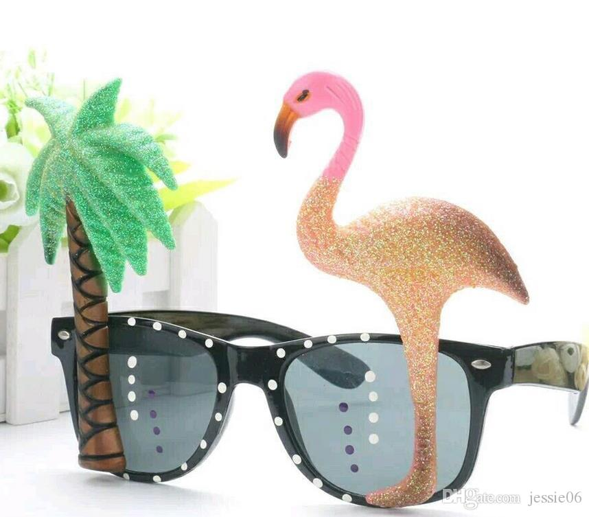 COCKTAIL Hawaiian Flamingo Parrot Glasses Sunglasses Tropical Beach BBQ Fancy Dress Hen Stage Party Props Novelty hot Summer Holiday eyewear