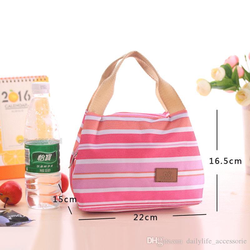 حقائب اليد حقيبة الغداء الحرارية معزول المحمولة بارد قماش الشريط حمل حالة نزهة جودة عالية 010232