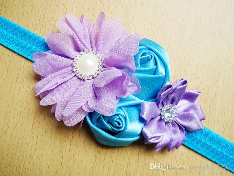 Baby Girls Flower Headbands Kids Girl Bow Headband 2017 Infant Princess Sequined Pearl Headband Children Hair Accessories Photo Props B713