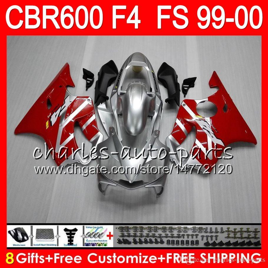 8 선물 23 혼다 차체 용 혼다 CBR 600 F4 99-00 CBR600FS FS 30HM9 실버 레드 CBR600 F4 1999 2000 CBR 600F4 CBR600F4 99 00 페어링 키트