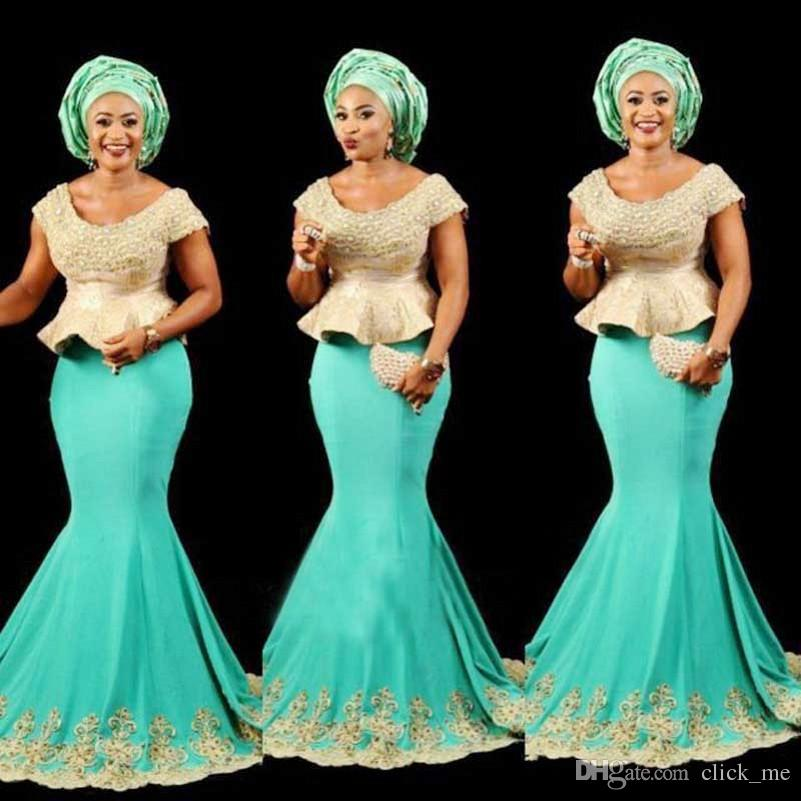 Aso Ebi Black Girls sirena vestidos de noche Scoop cap mangas Peplum vestido de fiesta africano apliques de encaje largo granos vestido de cóctel formal