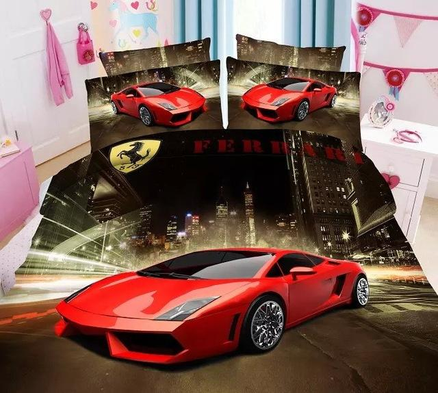 Wholesale Red Amazing Cars Print Bedding Bedlinens Sets