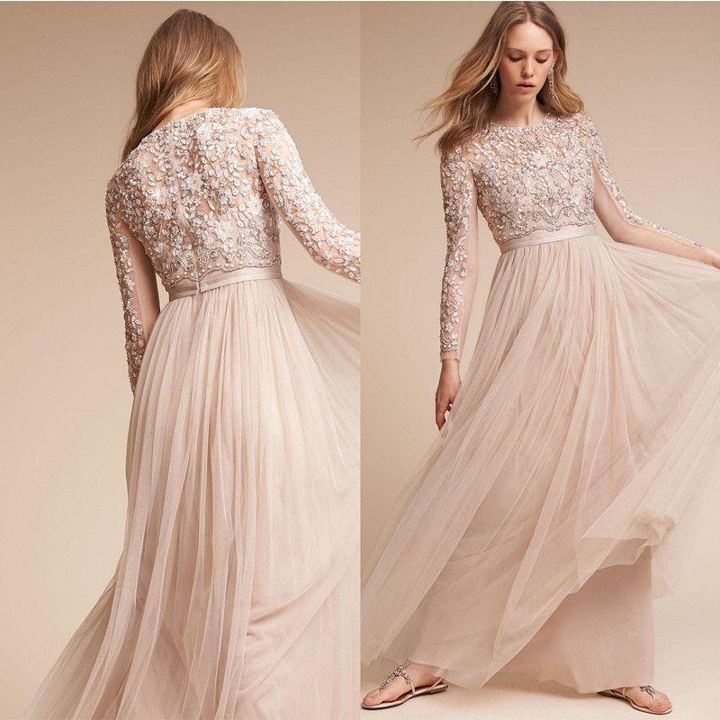 Luxury Handmade Beaded Long Sleeve Bohemian Formal Evening Reception ...