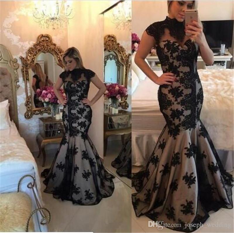 Vestido de noche Tallas grandes Vestidos Longos De Festa 2017 de cuello alto con encaje negro apliques sirena sin espalda vestido de fiesta